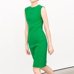 New Zara Pleated Shift Dress Green Sz XS